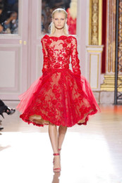 Wholesale New Best Selling Bateau long Sleeve Red Lace Zuhair Murad Lace Tulle Short Evening Dresses Cocktail Dresses