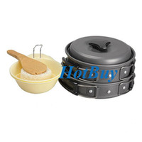 Wholesale New Portable Outdoor Alloy Aluminium Camping Cookware Frying Pan Cooking Pot Set