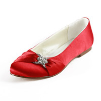 Wholesale New Arrived More Color Available Comfortable Flat Wedding Shoes Crystal Bride Bridal Satin Shoes MZ361