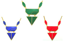 Fashion European Style Gold Plated Alloy Resin Gem Geometry Triangle Pendant Necklaces