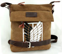Wholesale Retail Attack on Titan mens Brown Message Bag Scouting Legion sling satchel school bookbag Single shoulder bag canvas bag