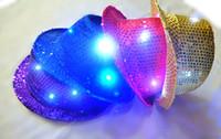 Wholesale Sequins Hat Color LED Luminous Hats Cowboy Cap Jazz Caps Stage Performance Tourism Hats With Colorful LED Lights Beautiful Caps