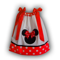 Wholesale Fashion Baby Girls Pillowcase Dress With Red Polka Dot Minnie Mouse Children s Chevron strip Dress