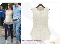 Wholesale 2013 Women s Sleeveless Crew Collar Lace Peplum Blouse Top Vest Shirts Popular
