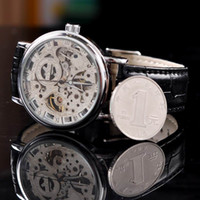 Wholesale New Men HOT Luxury MCE Leather Sports Wrist Watch Hand Winding Mechanical Skeleton Watch Free HK Post by BBwatch