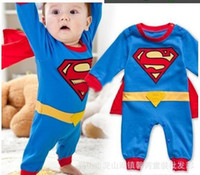 Wholesale Newstyle superman rompers fashion baby rompers one piece jumpsuits long sleeve spring autumn baby clothing set freeshipgb