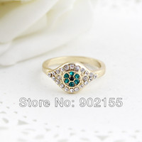 Wholesale New Fashion Design Christmas Gifts Jewelry Rhinestone Gold Color Alloy Wedding Rings for Women
