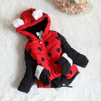 Girl baby glove pattern - Brand New Children s Coat Girls thickening cotton padded clothes baby love pattern hooded cotton jacket hooded Gloves pocket coat