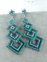 Dangle & Chandelier Women's Drop Earrings ER-010430 9.4cm long high quality square cluster chandelier ocean blue flicker acrylic earrings for wedding