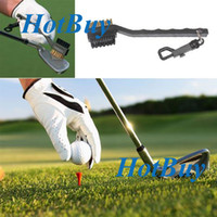Wholesale 2 Sided Brass Wires Nylon Golf Club Brush Groove Cleaner Kit Black