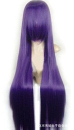 Wholesale Purple cos long straight hair wig