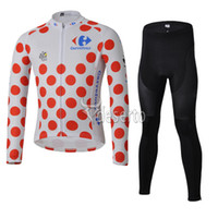 Full Breathable Men Tour de France 100th Red Polka Dot Jersey Ciclismo wear winter thermal fleece cycling long sleeve+cycling long pants cycling underwear cjs5