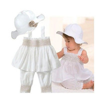Wholesale Baby suit sleeveless top with cap vest sirt pant baby girl dress suit