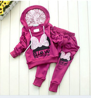 Wholesale Sport style girl suit long sleeve hoodie long pants children knitted sportswear