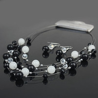 black bead necklace set - 4 Layers Black amp White Beads Combination Pattern Fashion Earrings Necklace Women Suits Jewelry Set