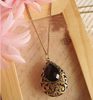 Pendant Necklaces american classics sweaters - Hot classic European and American vintage jewelry fantasy black droplets long sweater chain necklace