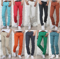Wholesale 2013 New Men Designer Brand Straight Fashion Casual Slim Custom Fit Candy Skinny Denim Pencil Jeans