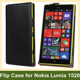 Wholesale Black White Luxury Genuine Leather Flip Cover Case for Nokia Lumia 1520 Free Shipping