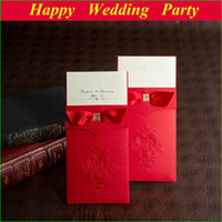embossed wedding invitations - Red Vintage Embossed Wedding Invitations with ribbon with free customized printing