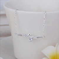 Wholesale New Arrival Sterling Silver Anklets Silver Fashion Jewelry Winding Double Zircon Anklets