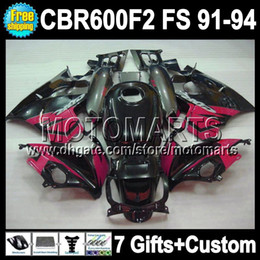 &7gifts F2 For HONDA CBR600F2 1991 1994 91 92 93 94 CBR 600 1991-1994 Pink black grey 1992 1993 MT41907 CBR600 F2 CBR 600F2 full Fairing