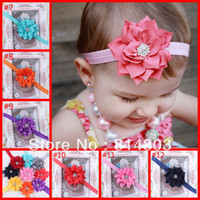 Headbands Lace Floral Baby flower Headband Infant Toddler Girl Flower Headband with Rhinestones baby Crystal Hair accessories 10 pcs lots ZL016