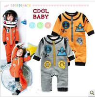 Cheap Wholesale - Cute baby boys rompers Modelling of the rocket long sleeve gray yellow 3pcs lot 131124