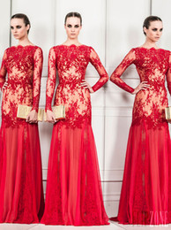 New Sexy Sheer Appliqued Long Sleeve Zuhair Murad Evening Gowns Bateau Neckline Sheath Floor-Length Red Chiffon Prom Dresses