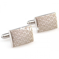 Wholesale art deco cufflinks Silver Rectangle Stainless Steel Fascinating Cufflinksman s copper and white steel