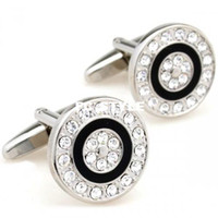Wholesale movement cufflinks Vintage black enamel with white crystal circle cufflinksman s copper and white steel