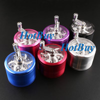 Wholesale 4 Part Space Alloy Hand Crank Herbal Herb Tobacco Grinder Smoke Grinders