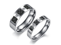 Couple Rings carbon steel ring - 10 off Retail rings Titanium steel Ring with diamond carbon fiber couple Ring buddhist monastic discipline fashion jewelry pair TY