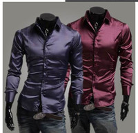 Men silk dress shirt - New Men s Fashion Emulation Silk Shiny Leisure Wear Men s Long Sleeve Dress Shirt Black Wine Red