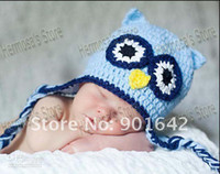 Boy Summer Crochet Hats Wholesale - Crochet Owl Hat,Baby Animal Hat,Handmade Animal Children Hat 30 pcs lot Mix styles Free Sh