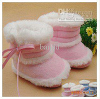 Wholesale pairs baby girl infant children kids boot bootie shoes slipper non slip velvet pink and blue