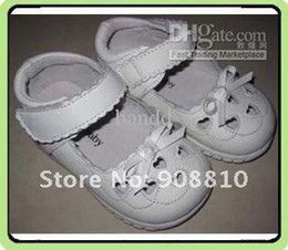Wholesale leather kids white mary jane with heart cut outs and embroidery butterfly retai