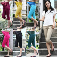 Wholesale Colors Cotton maternity pregnant capris pants summer elastic candy color women belly clothing clothes plus big size XXL