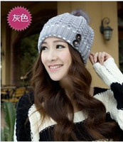 Wholesale 2013 Christmas gift Korean new knitted hat ear for female women winter outdoor hats fashion warm wool cap for ladies MZ0245