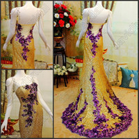 beautiful photos pictures - Most Beautiful Gold Sequins Pearl Beaded Charming Long Formal Evening Gowns With Purple Applique Sexy Party Prom Dress No Sleeve Exquisite
