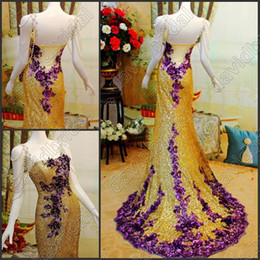 Wholesale Most Beautiful Gold Sequins Pearl Beaded Charming Long Formal Evening Gowns With Purple Applique Sexy Party Prom Dress No Sleeve Exquisite