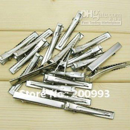 Wholesale mm quot Silver tone hair clips Single Prong alligator clip teeth clips handwork DIY craft hair acc