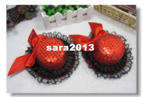 Wholesale sparkling fashion christmas party hat with ribbon bowtie and lace brim