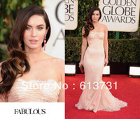 Reference Images Trumpet/Mermaid Sleeveless 2014 70th Golden Globe Awards Red Carpet Megan Fox Prom Dress Lace Mermaid Strapless Celebrity Dresses