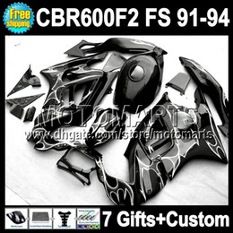 7gifts+ 100% 91 92 93 94 For HONDA CBR600F2 91-94 CBR 600F2 Black CBR600 F2 Silver flames 1992 1993 MT41730 CBR 600 F2 1991 1994 Fairing