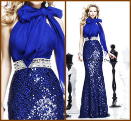 Wholesale UPS Sexy Super Fashion Sheath Halter Bow Tarik Ediz Dresses Sequins Blue Sash Beading Sweep Train Evening Dress Zip TE