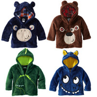 Wholesale Child warm Tops Children s clothes cartoon long sleeved hoodie sweater coral fleece four color TJ S0125