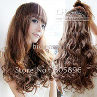 Wholesale clip in hair extension synthetic hair wigs wavy style can use heat cm cm l