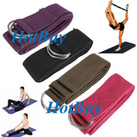 "Yoga Hair Bands Yoga Straps  67"" 6FT Yoga Stretch Strap D-Ring Belt Figure Waist Leg Fitness Exercise Gym #2281"