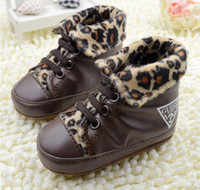 Wholesale Baby Boys First Walker Shoes Brown Leopard High Help Soft Bottom Leather Toddler Skidproof Infant Shoes Baby First Walker Shoes M S