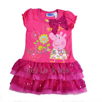 Wholesale Children s Baby Girls dresses summer George Peppa pig Chevron Short sleeve Lace Tutu Dress with Bow knot